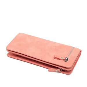 China Orange Color Multi Card Organizer , PU Leather Clutch Wallets For Women  on sale