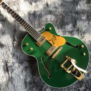 China Custom Semi Hollow Body Jazz Electric Guitar With Bigsby Tremolo in Green Color on sale