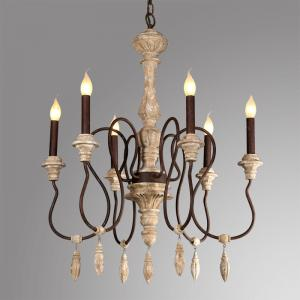 China French style wooden chandeliers hanging light for indoor lighting (WH-CI-65) on sale