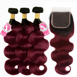 China Human Body Wave Ombre Hair Bundles With Closure 1B 99j Burgundy Color on sale