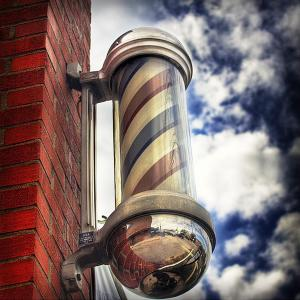 China Classic Chrome Barber Pole Sign Red White Blue Spinning Light Salon Shop on sale