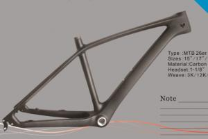 Quality 26er Carbon Mountain Bike Frame with Internal Cable Routing of Open / Thru-axle for sale
