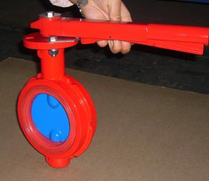 China Red Butterfly Valve Double Flange / Flowline Butterfly Shut Off Valve on sale