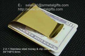China Premium gold plated steel money clip and credit card holder wallet for man gifts, on sale