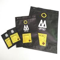 1 kg 500 grams 250 grams Stand Up Black Matte Coffee Packaging Bag With Top Zipper and Aluminum Foil Inside Bags