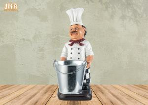 China Polyresin Chef Bottle Holders Restaurant Italian Chef Tabletop Statue Wine Rack on sale