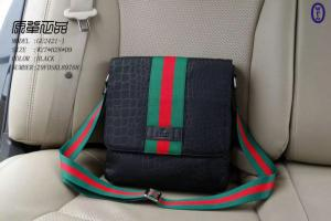 China Gucci Black Men Messager Bags Superior Cowhide Original hardware on sale