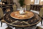 Antique wooden round rotating dining table TN-029N
