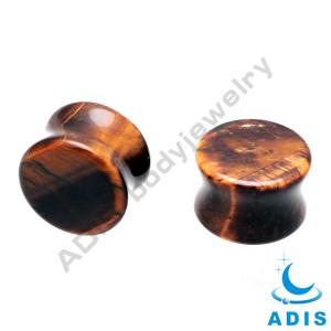 China Tiger Eye Stone Ear Plugs , 6mm / 8mm Ear Plugs For Concerts / Bars on sale
