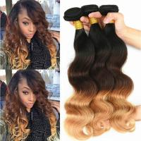 Brazilian Ombre Human Hair Body Wave, No Shedding Color1b/4/27# Coloured Hair Extensions
