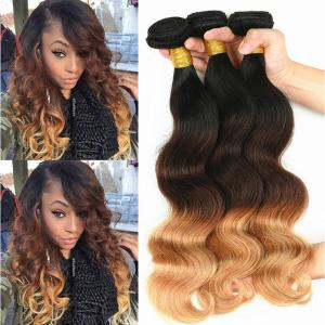 China 100% Real Brazilian Ombre Human Hair Body Wave No Shedding Color 1b / 4 / 27# on sale