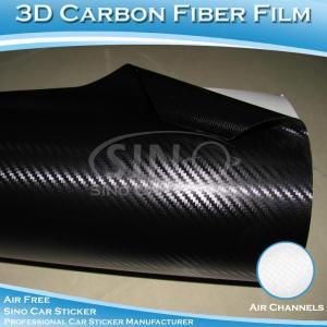 China Air Release Car Vinyl Sheet Black 3D Carbon Fiber film on sale