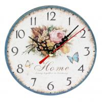 China Rose Flower Rose Butterfly Home Wall Clock Retro Style Wall Clock Home Nursery Living Room Bar Clock Decor on sale
