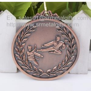 Antique bronze blank Karate medals wholesale, metal engraved karate