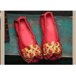 Red Fancy Slippers womens leather loafers With Lovely flowers , slip on loafers