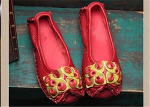 China Red Fancy Slippers womens leather loafers With Lovely flowers , slip on loafers on sale