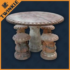 China Red Marble Garden Ornaments For Decoration With Round Table , Hand Carved on sale