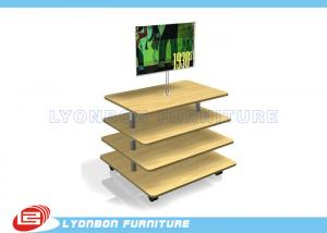 China Customize MDF Wooden Gondola Display Stands Retail Fixtures With 4 Layers on sale