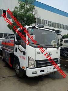 China Low Price Customize FAW 6 wheels 5 cbm fuel truck dimensions small 5000 liter jet fuel truck truck aluminum fuel tanks on sale