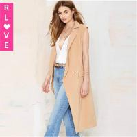 China Europe women's sleeveless windbreaker jacket and long style female trench coat with pocket on sale