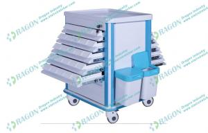 China ABS plastic and Steel hospital dressing trolley with Litter Basket and Drawers on sale