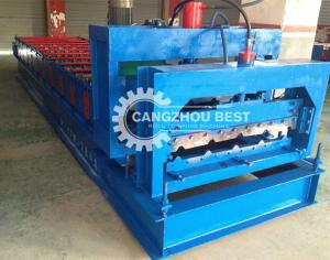 China Trapezoidal Sheet Metal Roof Aluminum Corrugated Tile Roll Forming Machine Sales on sale
