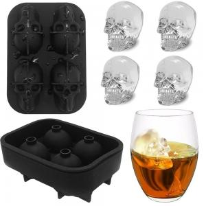 China 4 Grid Wholesale 3D Skull Custom Flexible Silicone Ice Cube Tray Mold With Lid on sale
