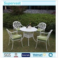 China White Cast Aluminum Outdoor Furniture , 5 Piece Patio Dining Sets For Leisure on sale