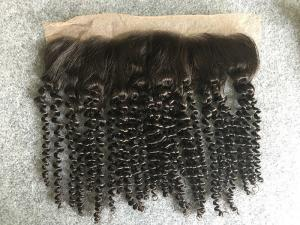 China Brazilian Kinky Curly 13x4 Lace Top Closure Human Hair Ear To Ear Lace Frontal on sale