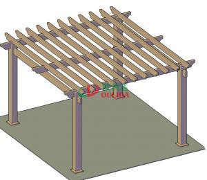Quality Outdoor wood plastic composite pergola designs / 5mx5m layout / OLDA-5001-03 for sale