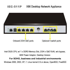 China Compact desktop network appliance with dual core Intel® Atom™ CPU and four network ports on sale