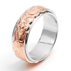 China Interchangeable Rose Gold Hawaiian Jewelry Silver Base Engraved Ring on sale