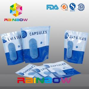 China Custom Vertival And Resealable Aluminium Foil Packaging Bag With Clear Window For Capsules on sale