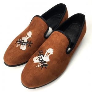 China Embroidered Orange Mens Velvet Loafers Rubber Outsole Four Seasons General on sale