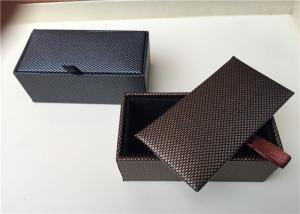 China Rectangle Custom Gift Box For Cufflinks , Mens Cufflink Case Foil Stamping on sale