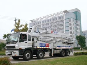 China 47m Isuzu Concrete Pump Truck Mounted 8x4 / Concrete Placing Equipment on sale