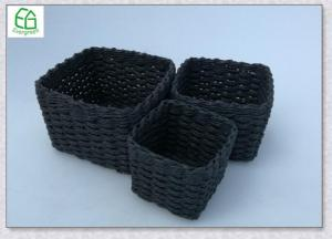 ... Quality Rectangle Paper Rope Hand Woven Storage Basket Set Of 3 , For  Sale ...