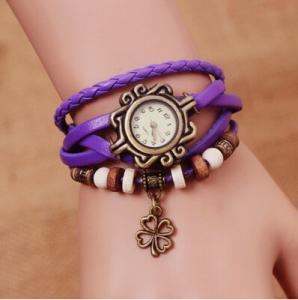 China Four Leaf Clover Pendant Ladies Bracelet Wrist Watches With Chinese Movt SL68 on sale