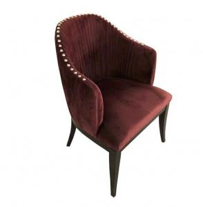 China Wholesale Red velvet fabric wooden dining chair with silver neilheads on sale
