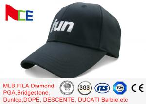 China FUN 6 Panels Mens Sports Hats , Relaxed Black Cool Sports Fitted Caps on sale