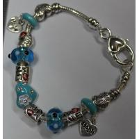 China European Style Silver Charm heart shape Bracelet 19cm. Aqua Murano glass beads CRAB Heart, gifts for women on sale