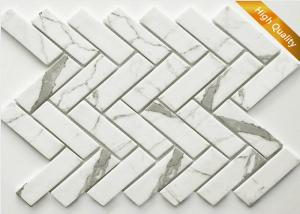 China White Cararra Marble Mosaic Tile Fish Bone Shaped 31 X 98 X 6mm Chip Size on sale