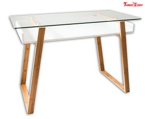 China Glass Top Modern Office Table Computer Home Office Desk 46 X 24 X 6.8 Inches on sale