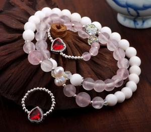 China White tridacna rose quartz bracelet in sterling silver, gemstone bracelet&Ring jewelry set on sale