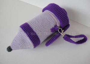 China Pencil Shape Crochet Mug Holder Purple Knitted Cup Sleeve With Zipper on sale