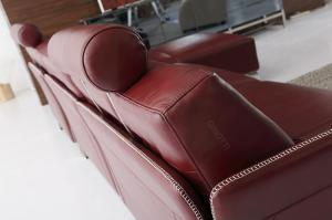 Quality Red Luxury Leather Sofas With Adjustable Headrest Leather Sofa ,  Leather Sofa photo for sale