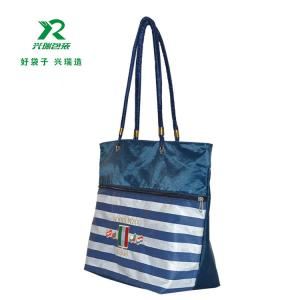 China High quality shoping bag ECO Friendly Fashional Large Customized Logo Oxford tote Bag stripe shoulder bag supplier on sale