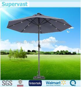 China Decorative Garden Market LED Lights Solar Patio Umbrella Round Shape on sale