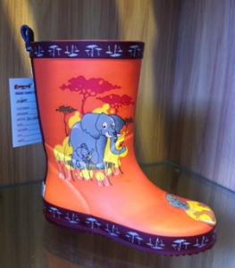 China Size 24 Half Printing Rubber Childrens Rain Boots Water-proof on sale