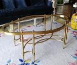 Contemporary Oval Shape Glass Top Stainless Steel Frame Coffee Table Vintage table